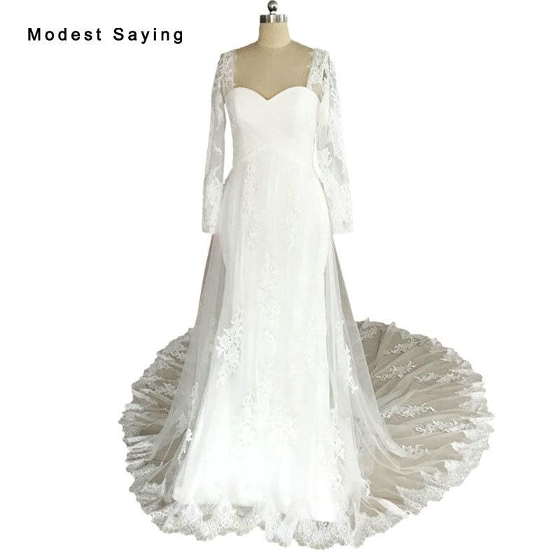 Nyata Sexy Mermaid Sayang Lengan Panjang Lace Wedding Dresses 2017 Panjang Fitted dan Flare Formal Gereja Bridal Gowns hot LW23
