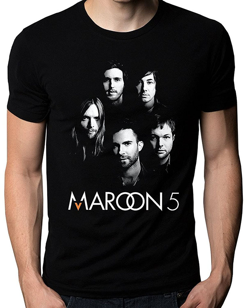 T Shirt Vintage O-Neck Men Maroon 5 Five V Adam Levine Band Face Logo Mens T-Shirt Cotton Short Sleeve Shirts