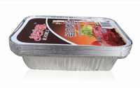 8Pcs Set BBQ Aluminum Foil Trays Disposable Food Container Plates Baking Party Pan With Lid Kitchen