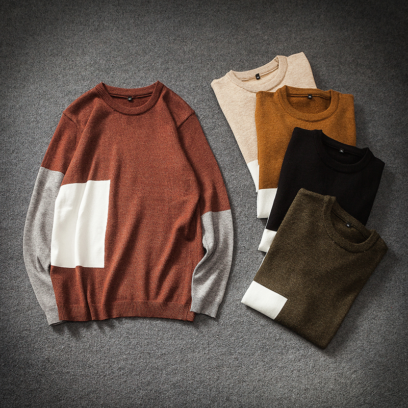 Fashion Casual Men 39 s Sweater Spring And Autumn New M 5XL Color Matching Loose Pullover Five color Personality Youth Popular in Pullovers from Men 39 s Clothing