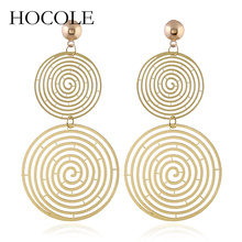 HOCOLE Fashion Alloy Drop Earring For Women Statement Spiral Earrings Accessories Gifts Golden Silver Color Geometric Jewelry