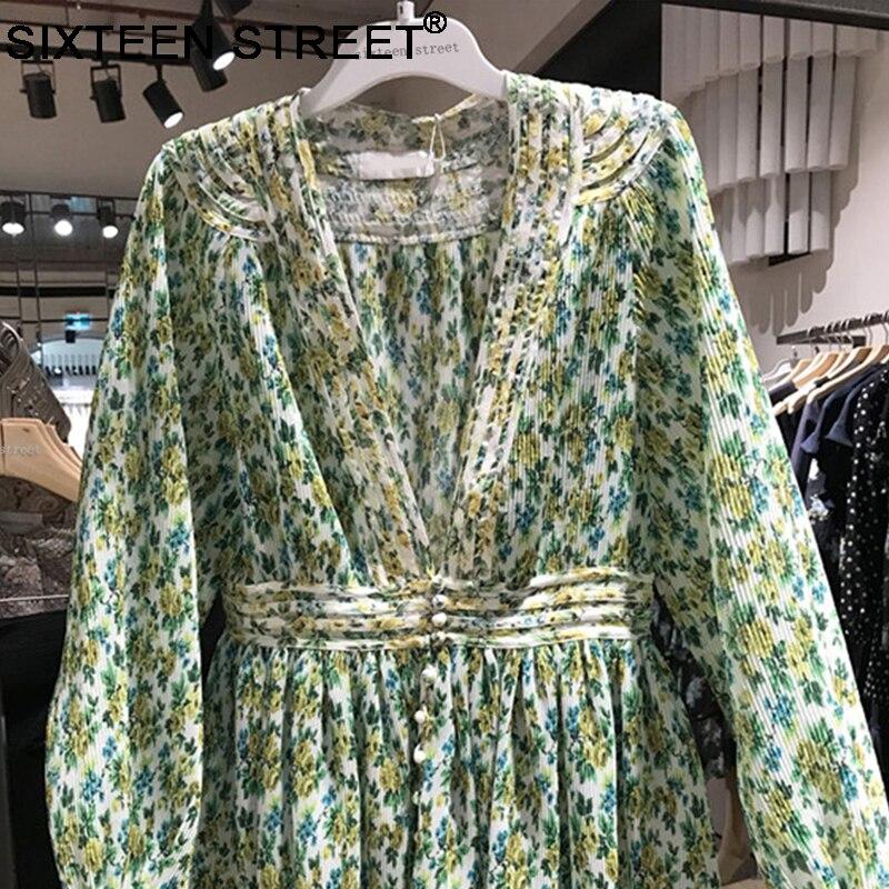 2018 nouveau printemps été femme mini robe vert imprimé à manches longues profonde V sexy casual mers plage plissée robes femme - 5