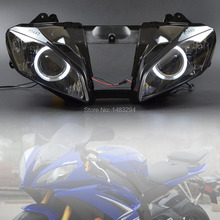 Custom Modified Assembled White Angel Eyes Projector HID Conversion Headlight Fits For Yamaha YZF R6 2008 2015
