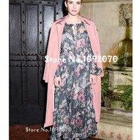 Для женщин Te застёжки Разделение шеи Iris Floral print Silk шифоновое платье Многоуровневое уголь Iris рюшами курорт платье