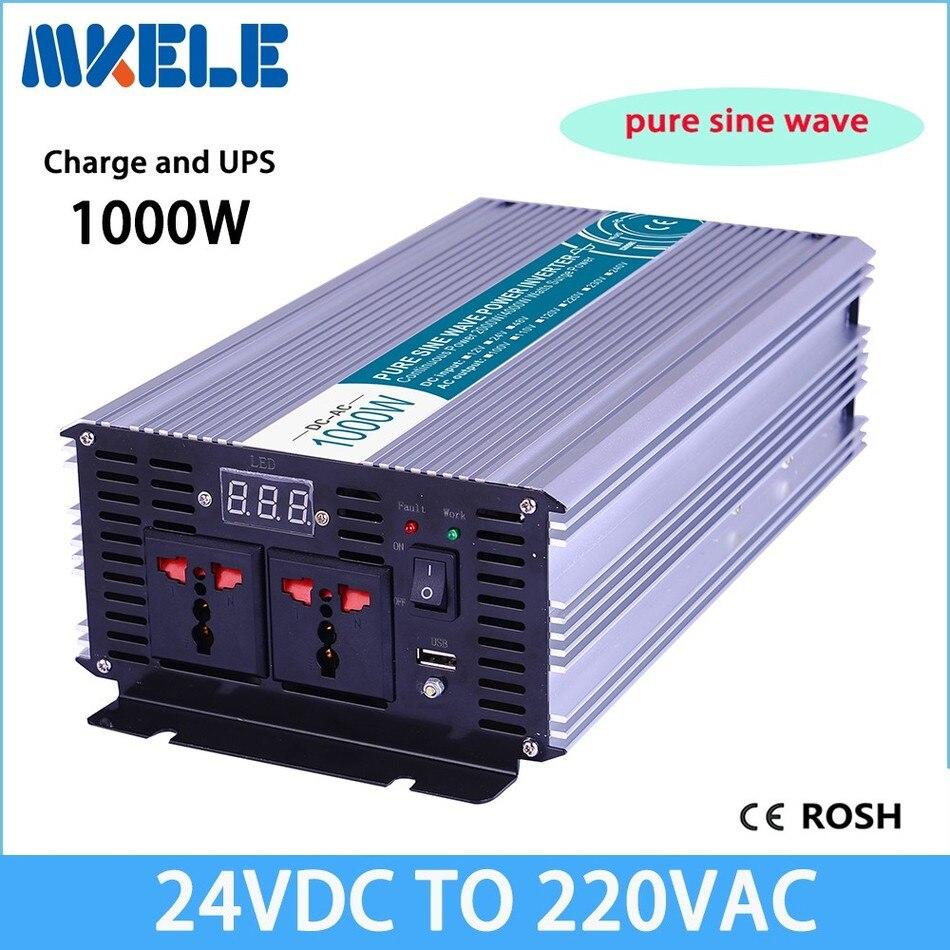 цена на MKP1000-242-C  inverter 1000w 24v to 220v Pure Sine Wave off grid solar inverter voltage converter with charger