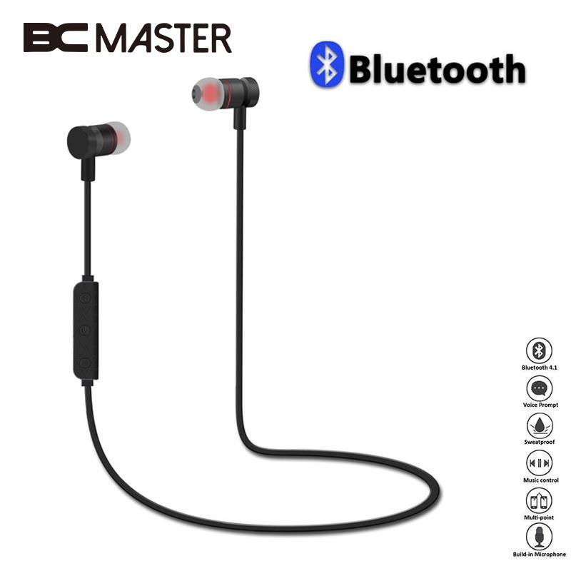 BCMaster Magnet Wireless Earphones Headset Bluetooth Sports Earphone Hansfree Headphones For Smart Mobile Phone Portable remax s2 bluetooth headset v4 1 magnet sports headset wireless headphones for iphone 6 6s 7 for samsung pk morul u5