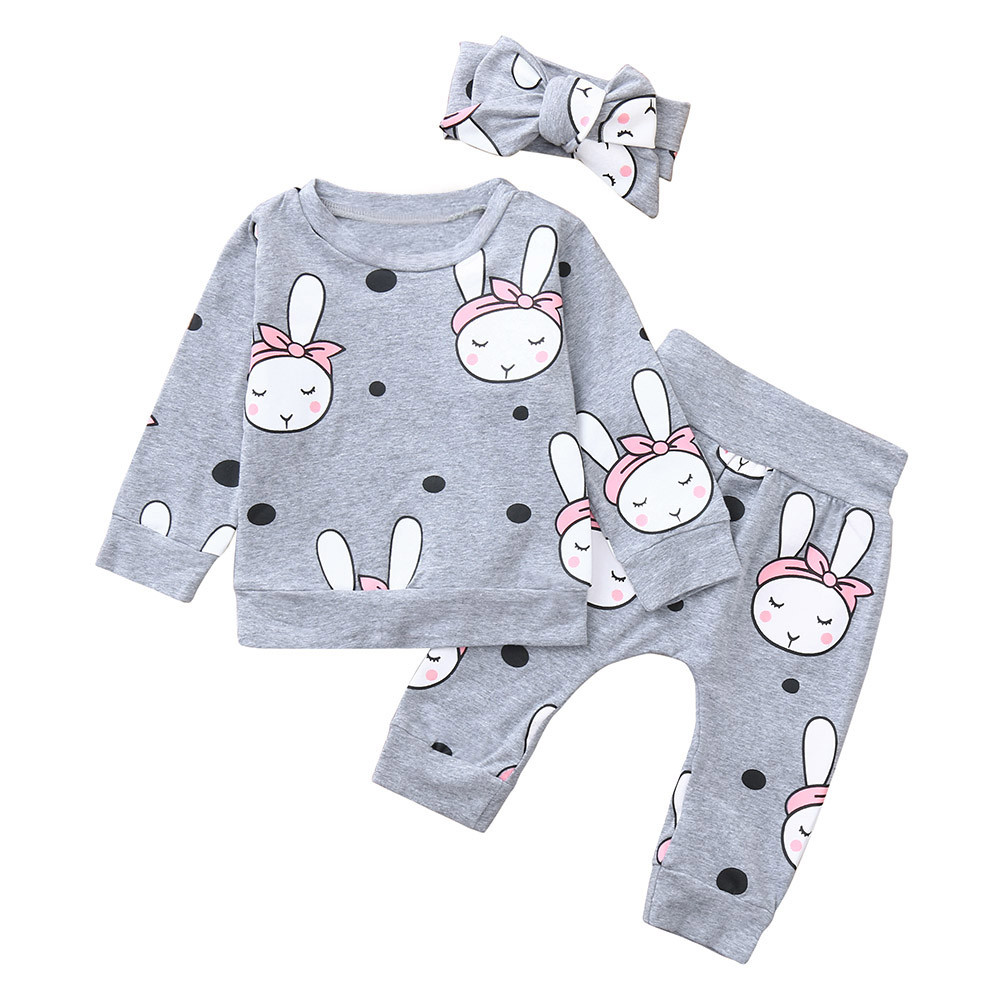 Genuine MUQGEW Baby Clothes 3PCS Toddler Baby Cartoon Rabbit Print Top Clothes+Pants+Headbands Set Outfit Baby Girl Clothes #10L