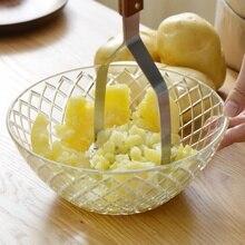 Пластина из нержавеющей стали гладкая толкатель пюре Толкушка с широким разбиванием картофеля приспособления для фруктов и овощей Пресс дробилка