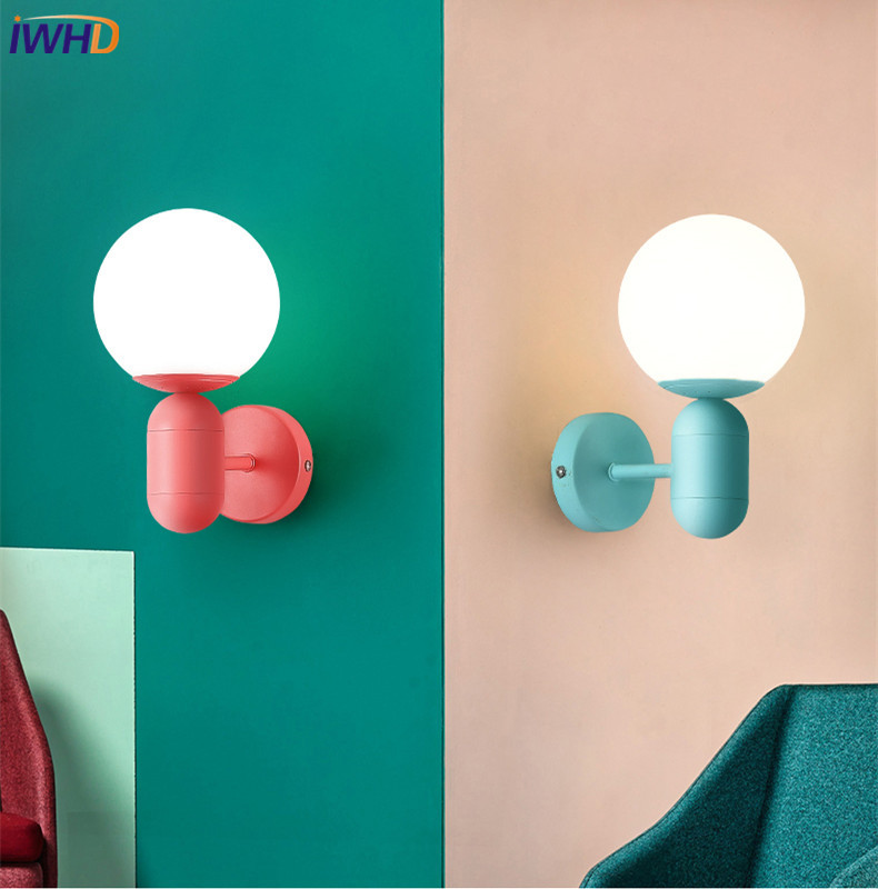 IWHD Modern Colorful LED Wall Lamp Pink Dinning Room Nordic Wall Lights Fixtures LED Bathroom Mirror Light Kids Room Arandelas