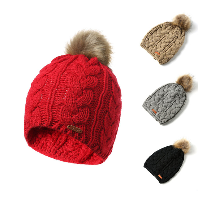 36fd9bff93b82 FORERUN Winter Knitted Hats Fur Pom Pom Cap Women Men Twist Stripes Ski  Beanie Hat Solid
