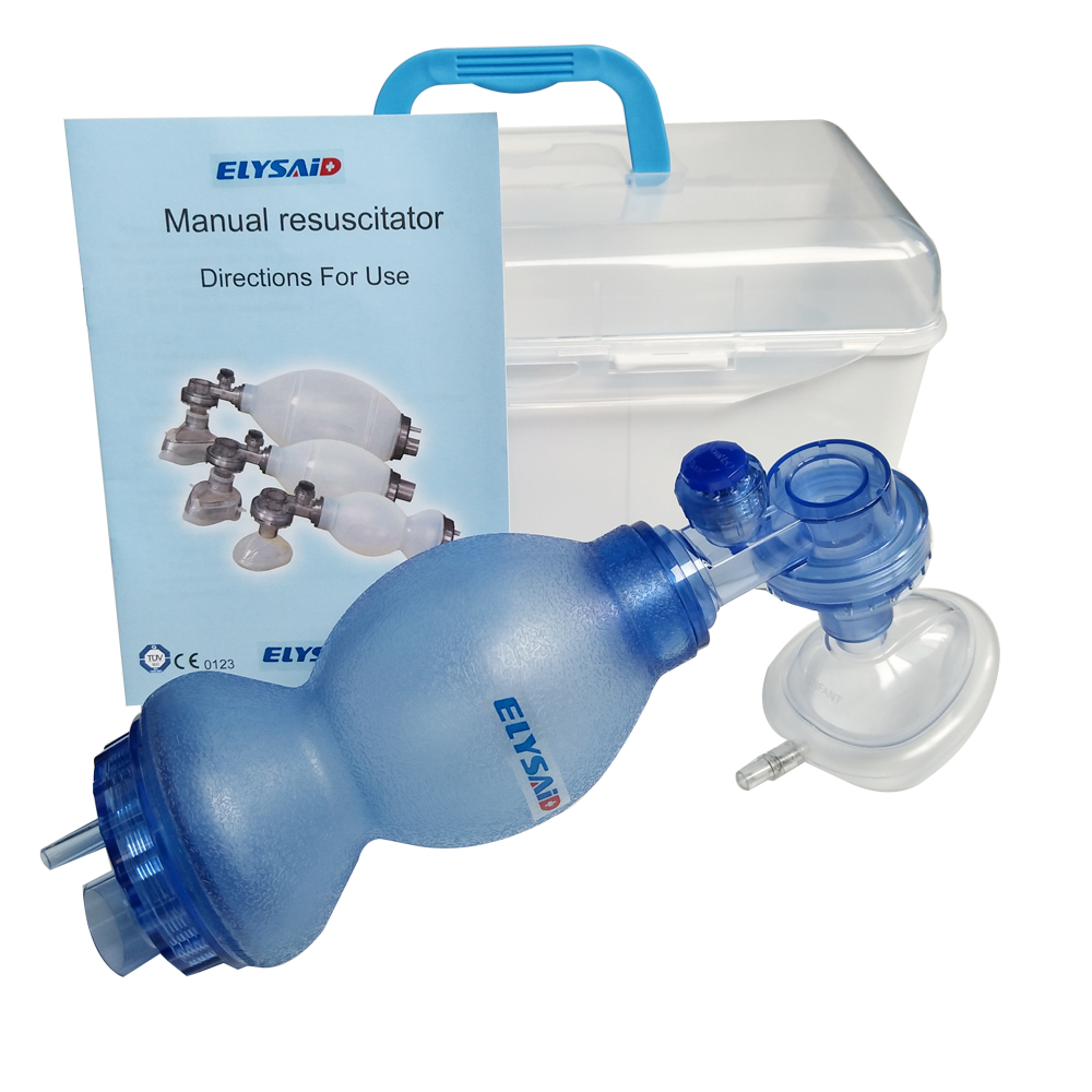 ELYSAID Self Help Respirator Silica Gel First Aid Silicone Ambu Bag Resuscitation Set With Connector N Case Manual Resuscitator In Masks From Beauty