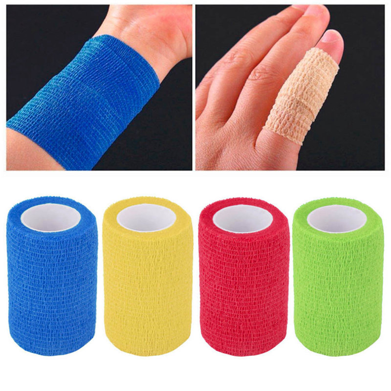 Security Protection Waterproof Self Adhesive Elastic Bandage 5M First Aid Kit Nonwoven Cohesive Bandage 48pcs lot waterproof self adhesive nonwoven bandage first aid kit sport protect tape cohesive wound wrap for hand 5cm 4 5m