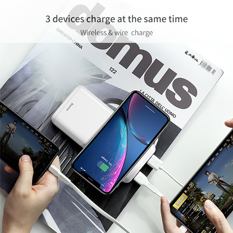 Image 3 - Baseus 10000mah Power Bank Wireless Charger Fast Charging for iPhone Samsung Xiaomi Huawei Dual USB Charge External Battery Pack-in Power Bank from Cellphones & Telecommunications