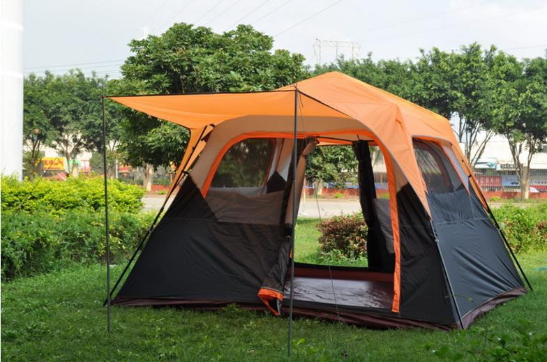 Camada dupla automática 5-8 pessoa uso ultralarge barraca de acampamento partido família