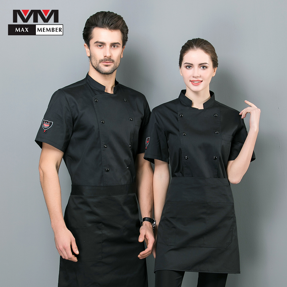 2019 Chef Uniform Work Clothes Summer Short SleevesRestaurant Unisex Kitchen Panaderia Accesorios Shirts  Filipinas De Chef