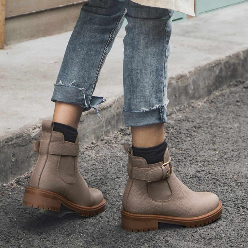 BeauToday Chelsea Çizmeler Kadın Hakiki Inek Deri Toka Ayrılabilir En Kaliteli Kış Bayan Ayak Bileği ayakkabı El Yapımı 03261