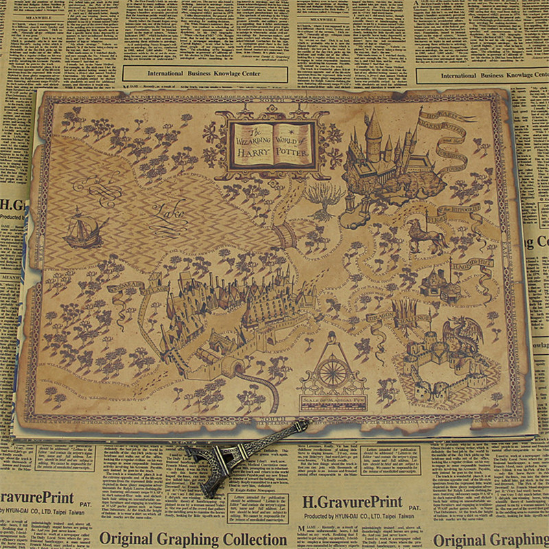 New Arrival Vintage Quot Harry Potter Magical Map Quot Kraft Paper