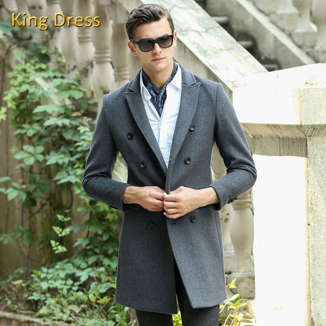 Man Woolen Overcoat High Quality Rushed Real Full Turn-down Collar Solid Double Breasted Standard Mens Sobretudo Men Wool Coat