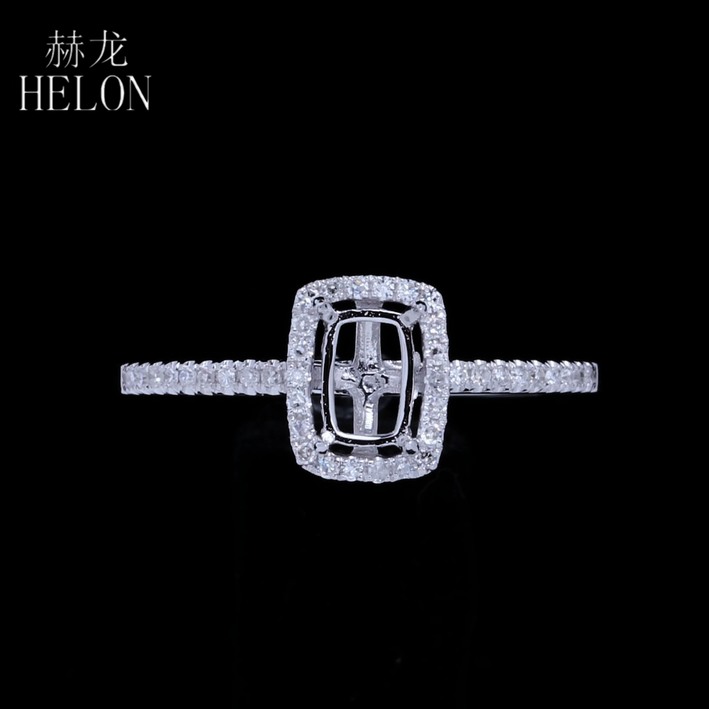 HELON 4x6mm Cushion Solid 14k White Gold Engagement Halo Pave 0.16ct Natural Diamonds Semi Mount Wedding Ring Women Fine JewelryHELON 4x6mm Cushion Solid 14k White Gold Engagement Halo Pave 0.16ct Natural Diamonds Semi Mount Wedding Ring Women Fine Jewelry