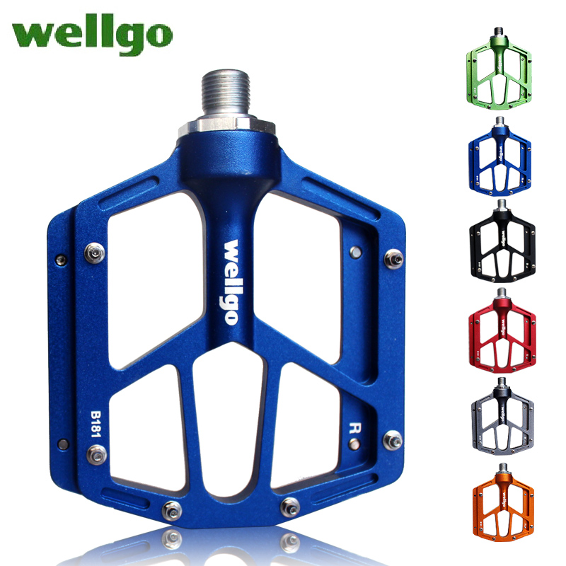 WELLGO  M181 pedal road bicycle Mountain bike pedal  Aluminum alloy Anti-skid pedal chromium molybdenum steel axis 2016 new arrival bike pedal 4 colors board anode mountain bike nylon fiber bearing pedal bicycle anti skid dead fly feet
