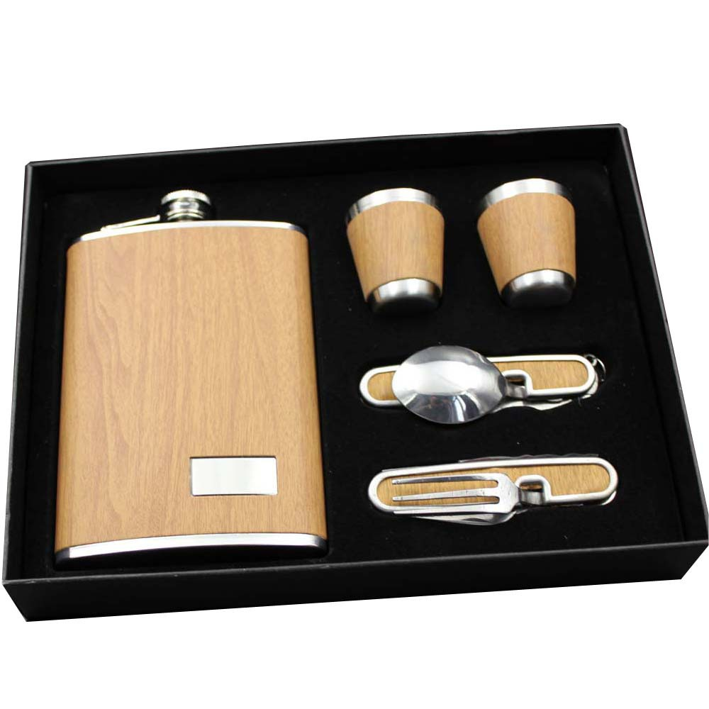 RUIDA 2018 Hot sales bpa free 9oz whisky flagon cccp Stainless steel alcohol hip flask SET with gift box pu leather wrapping