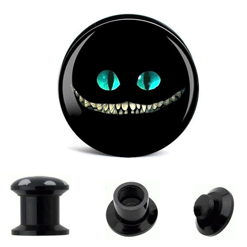 fashion evil cat acrylic picture plugs piercing  tunnel body jewelry piercing ear gauges sell by pair free shipping body jewelry