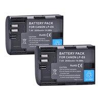 2pc LP E6 LPE6 LP E6 LP E6N Rechargeable Li Ion Battery 2650mAh For Canon EOS