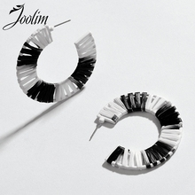 JOOLIM 5 Colors Raffie Knited Hoop Earrings Trendy Earring Wholesale