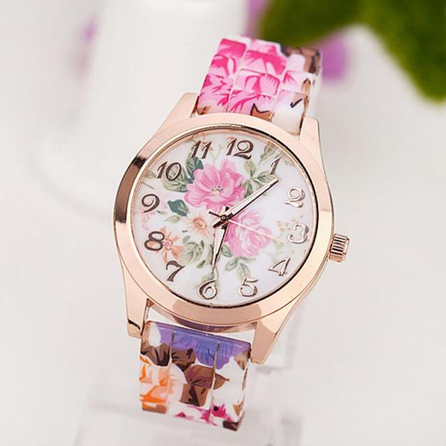 2018 Druable Woman Watches Womens Girl Wrist Watch Silicone Band Flower Printed