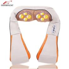 Colourfulcat U Shape Car/Home Neck Massager Electrical Shiatsu Shoulder Back Body Massagers Infrared 3D Massagem Flat EU Plug