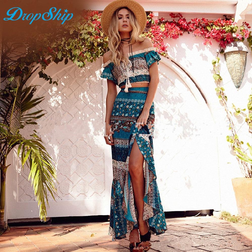 Streetwear Boho Beach Outfits Cotton Two Piece Set Women Slash Neck Crop Lace Up Summer Top 2018 High Waist Loose Long Skirt Set