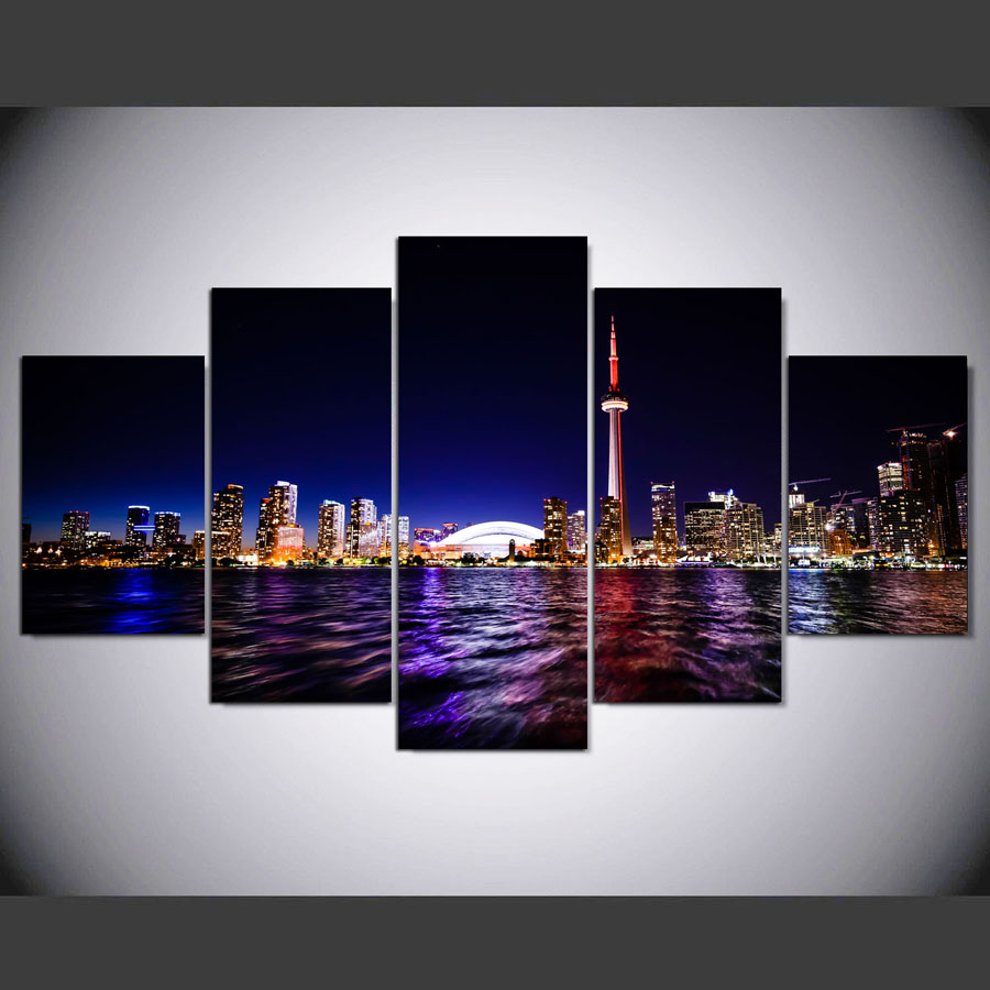 Canvas Painting Printed 5 Pieces Downtown Toronto City Wall Art Canvas Pictures For Living Room Bedroom