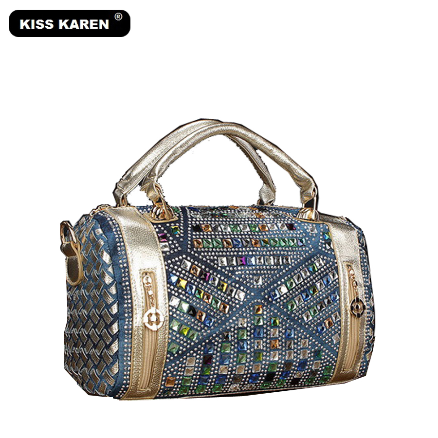KISS KAREN Luxury Vintage Fashion Rhinestone Denim Handbags Women Shoulder Bags Casual Totes Women Bag Noble Jeans Boston Bags luxury good quality new fashion women zipper jumpsuit slim fit skinny jeans rompers pocket denim jumpsuits size sexy girl casual