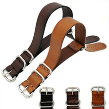 Genuine Cowhide Leather Military Watch Strap Band Zulu For Nato Watchband 18mm 20mm 22mm + Tool
