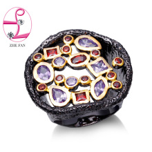 ZHE FAN AAA Cubic Zirconia Antique Black Gold Color Rings For Women Men Two Tone Ring Fashion Party Valentines Day Gift Jewelry