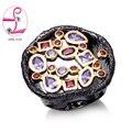 Zhe fan aaa cubic zirconia antiguos anillos de color oro negro para Hombres de las mujeres de Dos Tonos Anillo Partido de La Manera Joyería del Regalo del Día de San Valentín