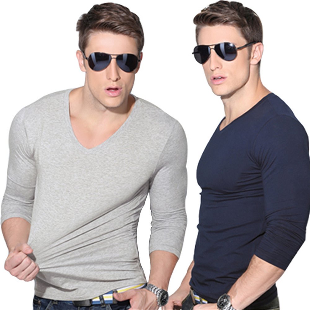 Long sleeve t shirt men slim fit autumn casual t shirt for Long sleeve fitted tee shirt
