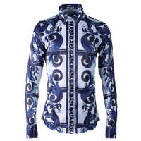 新 arrivla ファッション印刷潮古典的なファッションカジュアルシャツプリント長袖高品質春秋のメンズプラスサイズ M-4XL