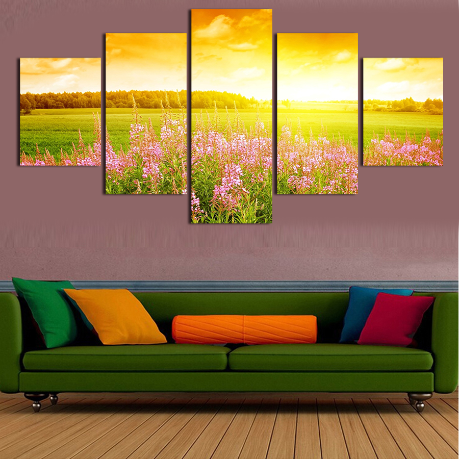 Unframed Flower Under The Sun Landscape Canvas Print 5 PC Wall Art Modern Wall Painting On Canvas Flower Sea Painting By Number