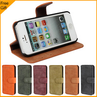 Soft Luxury High Quality Wallet PU Leather Flip Case Cover For Apple IPhone 5 5S Cell