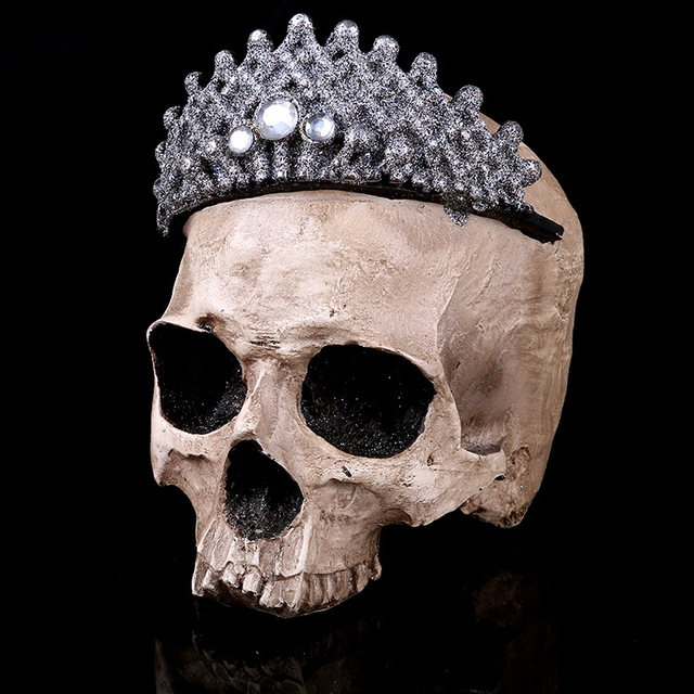 Medical Teaching Skeleton Scary Crown Skull Specimen Resin Crafts Halloween Home  Decorations Accessories Furnishings