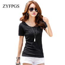 ZYFPGS 2019 New Slim T Shirt Women Basic O-Neck T-shirts Female Casual Tops Short Sleeve T-shirt Women Befree Sexy Summer L0513 zogaa sexy ripped out holes women t shirts silm fit midriff baring o neck basic short sleeve elegant summer female t shirts tops