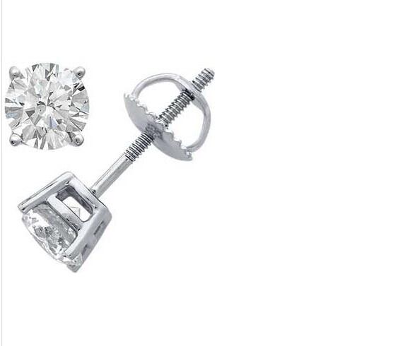 5MM Putih Padat CZ / Cubic Zirconia Round Screw Back anting-anting - Perhiasan fesyen - Foto 2