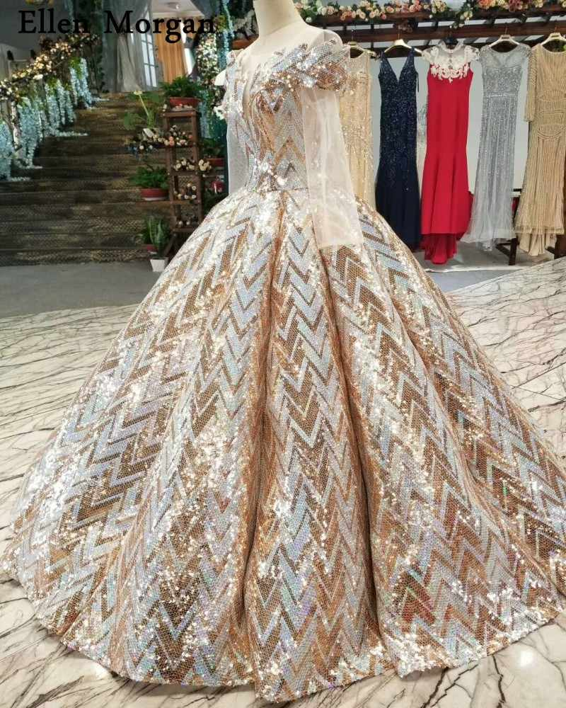 9ffbe0dff6 Pattern Sequined Fabric Ball Gowns Wedding Dresses Real Photos Puffy  Elegant Long Sleeves Floor Length Bridal Gowns 2019