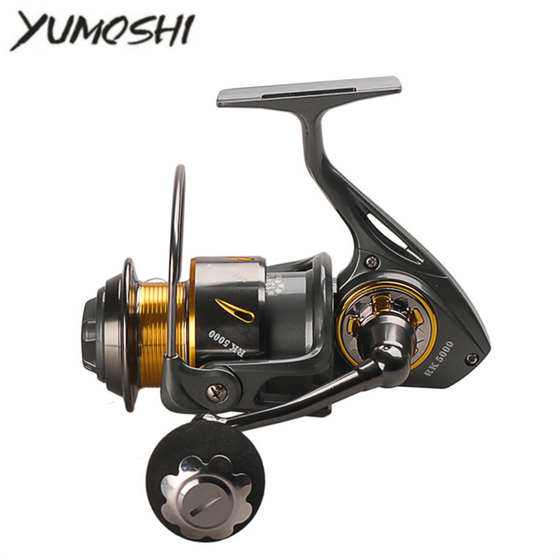 Yumoshi Full Metal Fishing Spinning Reel RK 5000-9000 13+1BB Saltwater Spinning Fishing Reel De Pesca Molinete Peche