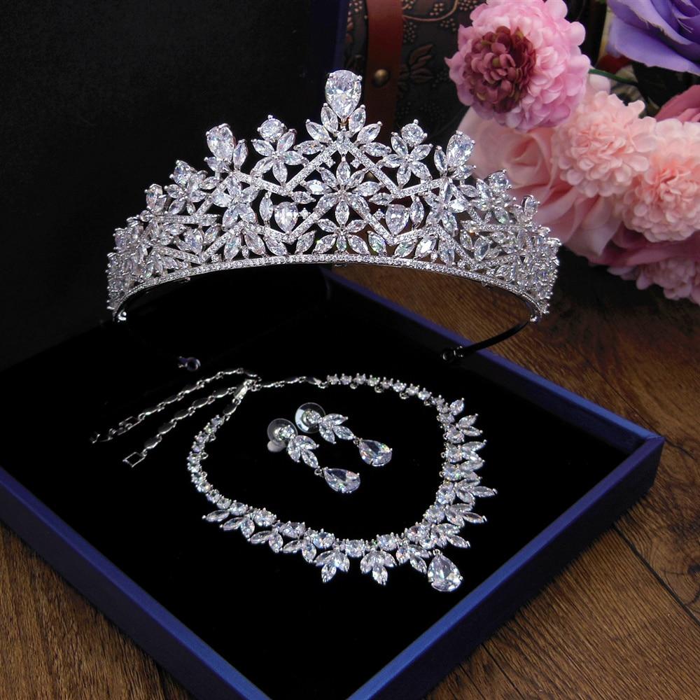 3A Cubic Zircon Wedding Crown Zirconia Tiara CZ Diadema Tiaras And Crowns Bridal Hair Accessories Couronne