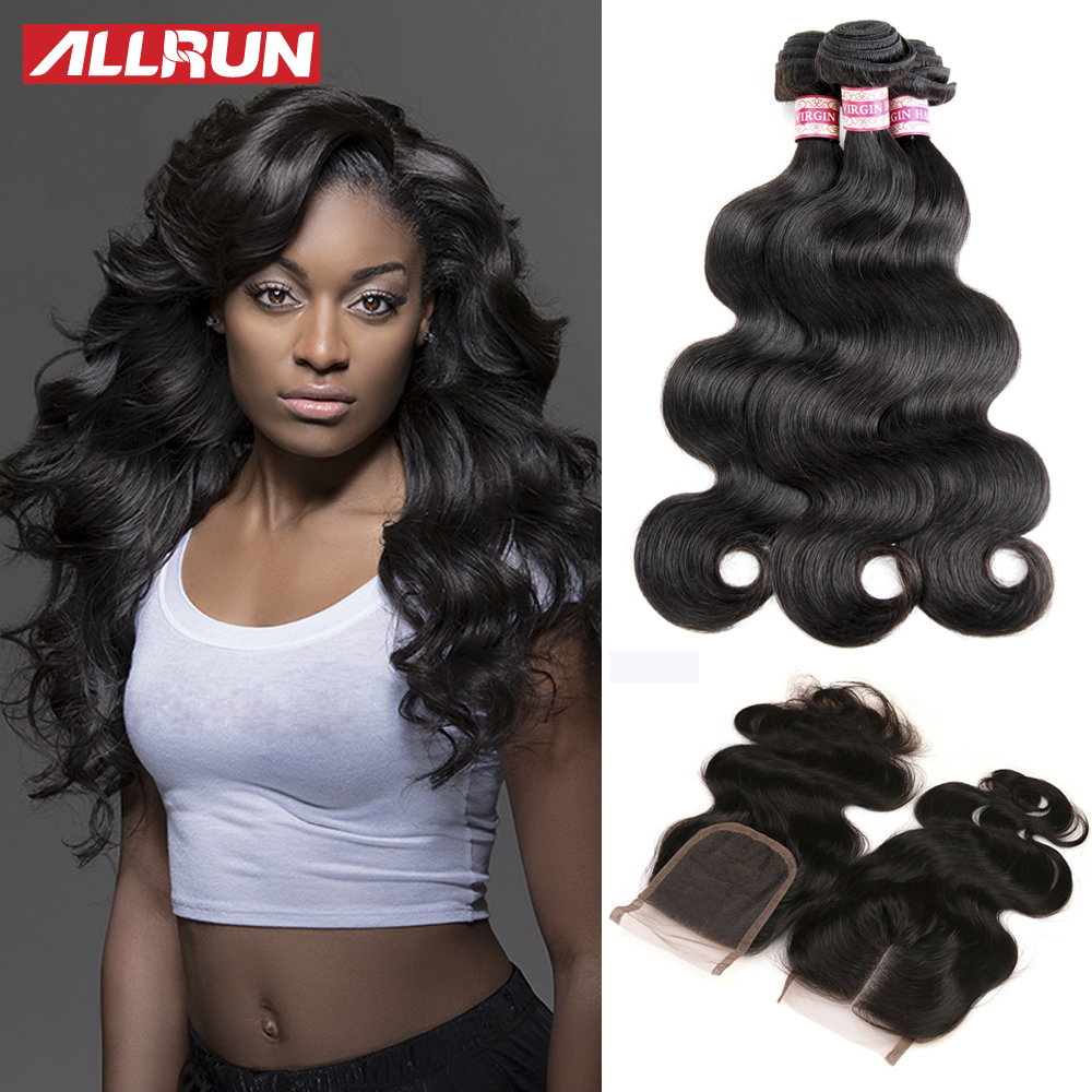 Peruvian Virgin Hair Body Wave 4 Bundles With Closure Peruvian Virgin Hair With Closure Human Hair With Closure 4*4 Lace Closure