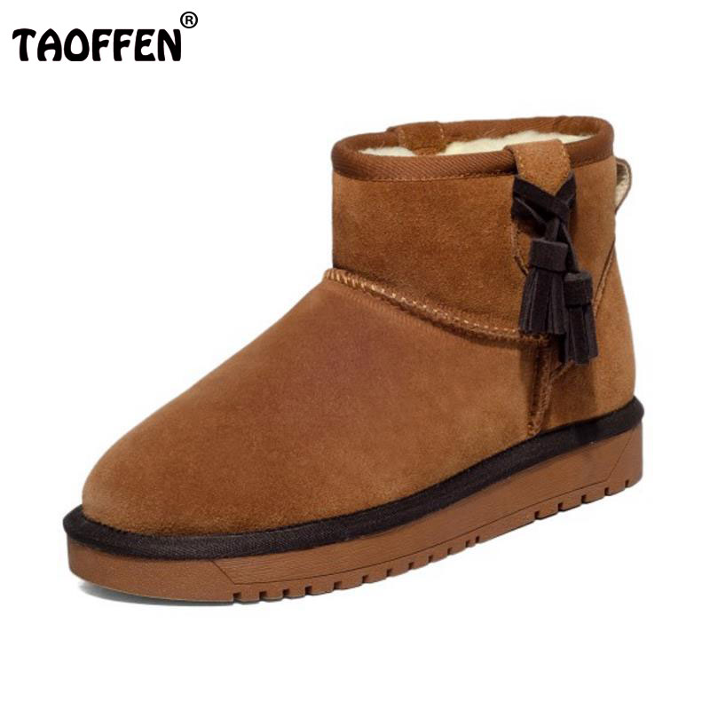 TAOFFEN Women Cold Winter Real Leather Snow Boots With Warm Fur Female Tassels Platform Shoes Women Warm Flat Botas Size 34-39 rizabina cold winter snow shoes women real leather warm fur inside ankle boots women thick platform warm winter botas size 34 39