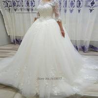 Vintage Princess Wedding Dresses 2017 Lace Wedding Gowns Half Sleeve Vestidos de Noivas Ball Gown Bride Dress Abiti Da Sposa