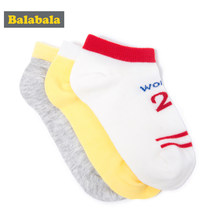 Balabala 3 pairs/lot girls socks summer candy color Casual sock for kid stripe children socks fashion Sport Short Students Socks(China)